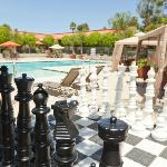 Life-Size Chess by the Pool