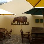 Hippo artwork on wall outside breakfast area