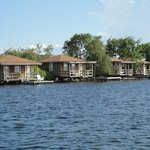 The bungalows over the water.