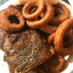 1/2 rack of ribs with onion rings