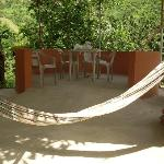 Hammocks and table games area.