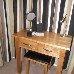 The desk/dressing table area in the bay window