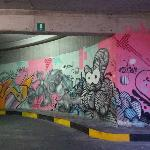  Graffiti in a carpark, very colourful