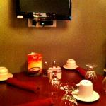 personal TV at each dining table, broken unfortunately. Better to concentrate on improving food