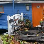 The beautiful entry to the houseboat is UNIQUELY colored and very beautiful and easy to spot.