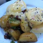 Eggs benedict - look closely and you see the food is floating in disgusting, seemingly overused