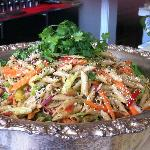 Asian Grilled Chicken Penne Pasta Salad w/ Ginger Lime Peanut Dressing