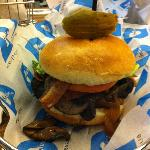 Deluxe Burger – Angus beef with portabella mushrooms and caramelized onions.