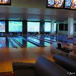 Bowling alleys-tv at the end of the lane