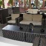Relax all year round in our heated and covered outside garden area.