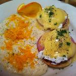 Eggs Benedict with Cheese Grits