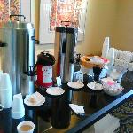 Fresh Coffee 24 hour a day in front lobby along with muffins.