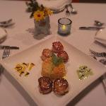 Pan Seared Stonington Sea Scallops with a Vegetable Risotto.