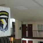  101st Airborne Division (Air Assault) banner above pool.
