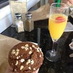 A mimosa and a blueberry raspberry oat muffin!