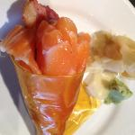 salmon, bacon, pineapple roll- turned into a hand roll