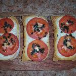  Bruschetta...toasted bread,with mozz.cheese,fresh tomato,basil