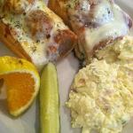  meatball sub with side of red potato skin potato salad
