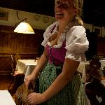 Miriam, our waitress, looking beautiful in a Dirndl..........and she smiled like this all the ti