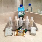 View of complimentary toiletries and chocolates