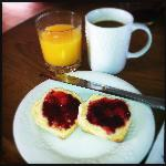 Fresh biscuits and local jam
