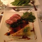 Duck breast on a bed of spinach, with a cherry vinegarette...........delicious!!