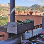 This is the view from the terrace at Kasbah Omar. We cooked green peppers on a portable barbecue
