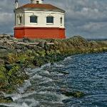 View of Coquille River light looking east.
