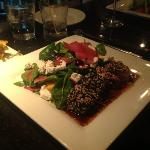 Seared Ahi Tuna with spinach and beet salad
