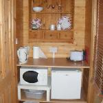  The mini kitchen in the log cabin