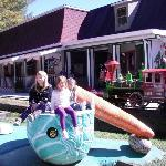  The train passing behidn one of the playground areas
