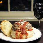 Penne and Meatballs in a Garlic Bread Bowl