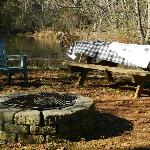 Pond firepit & seating