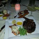 Cowboy steak and lobster tail