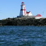 Head Harbor lighthouse seen from boat Lorna Doone