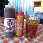 BBQ sauce, Texas Pete Hot Sauce and Sweet Tea -Don't get much better