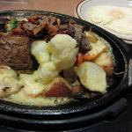 Denny's local dish - prime rib loaded with potato skillet