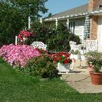Beautiful flowers surround this B&B