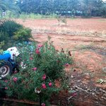 view from rear balcony, a tractor and a can bank