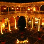 AC Hotel Santa Paula courtyard at night