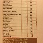  Mini bar Price list