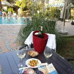  Wine on private courtyard by pool