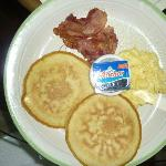 Pancakes with bacon for breakfast