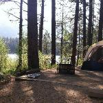 """View from our """"premium"""" campsite by the Lake."""
