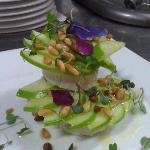 apples and goat cheese with roasted pinenuts and olive oil salad.