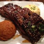  Ribs, grits and sweet potato.