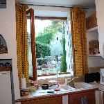 Kitchen view from Le Lavandin, our apartment