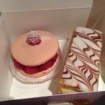 raspberry macaroon and Napoleon cake