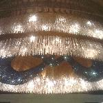  A Large Glass Chandelier in Recption Area