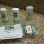  Nicer than usual complimentary toiletries; front desk can help with toothpaste, other necessitie